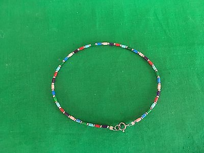 A1076 Silpada Blue Red Multi Colored Bead .925 Sterling Silver Ankle Bracelet