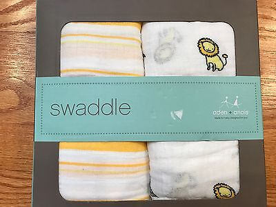 New Aden + Anais Girls Boys White Swaddle Baby Blanket 2-Pack Boxed Set Neutral