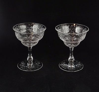 Two Antique Heavily Engraved Floral Cut Champagne Goblets High Quality Hawkes ?