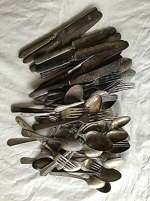 Vintage, Silverplate Flatware, mixed lot, Very Old, 62 pieces