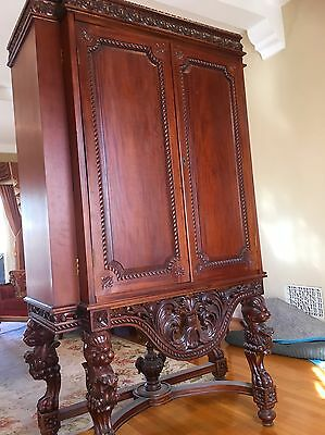 Antique Cabinet Armoire Stand with Lion or Tiger Head Carved Legs