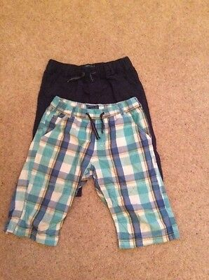 boys blue zoo navy and checked long shorts, age 12 years