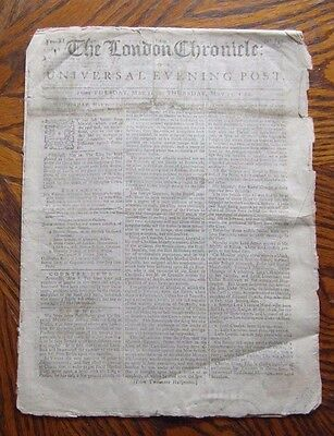 Early Georgian London Newspaper. The London Chronicle or Universal Evening Post