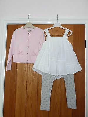 Next Girls Top, Leggings and Cardigan Outfit Age 5 years Immaculate Condition