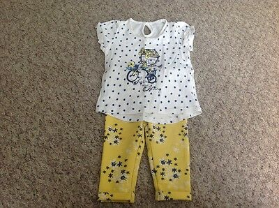 baby girls top/leggings set age 6-9 months good clean condition