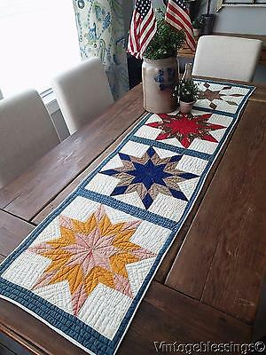Antique Star Burst Table Quilt Runner 1880s Red White Blue Cheddar 65x16