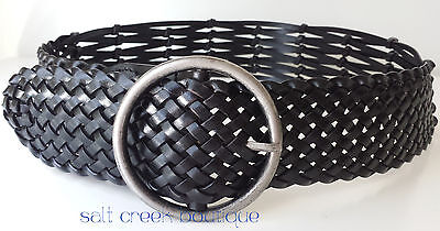 New Linea Pelle WIDE Brown Woven Braided Bonded Leather Belt Small Anthropologie