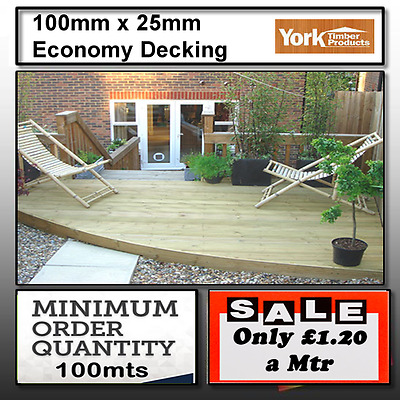 timber decking 100mm x 25mm Tanalised decking boards 140mtrs only £1.20 a meter