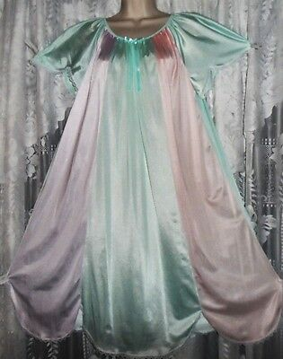 Vtg Mint Lilac Pink Color Block Rainbow Nylon Nightgown Negligee Gown M L