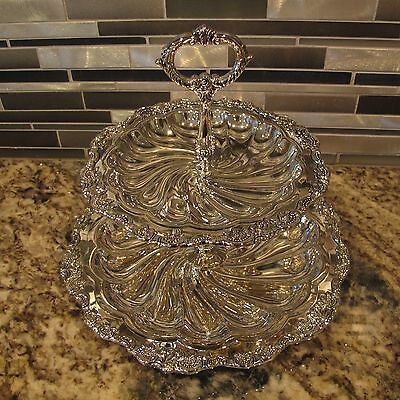 """Wallace Silverplate 10""""/7""""  2 Tier Scalloped Serving Tray"""