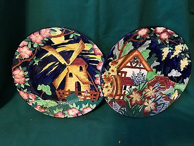"""(2) 11"""" Newcastle-On-Tyne Maling Art Deco Plates Roses Lustre Ware-Mint Cond."""