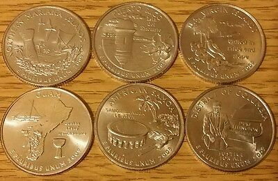 *SCARCE* 2009 P or D MINTS 6 US EXTRA TERRITORIAL STATES QUARTER COINS YEAR SET