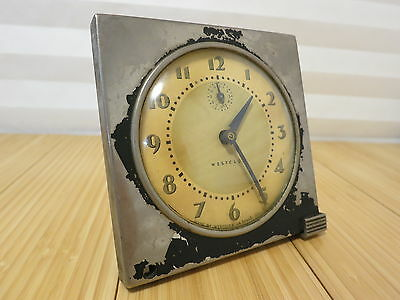 Vintage Westclox Broken Wind Up Tide Model Alarm Clock Made in USA Heavy Wear