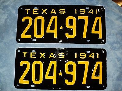 RESTORED   1941  Texas  License Plates