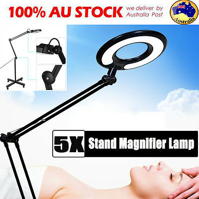 5X Magnifying Lamp LED 5 inch Glass Lens Magnifier Bulb Wheel Stand light Black