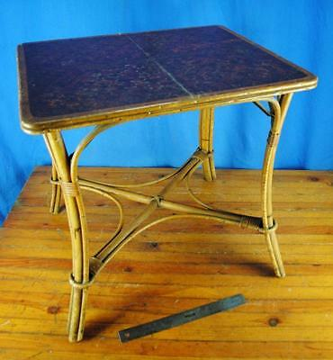 """Vintage Antique Old Wood & Rattan End Coffee Table Industrial 22""""x18""""x21"""""""