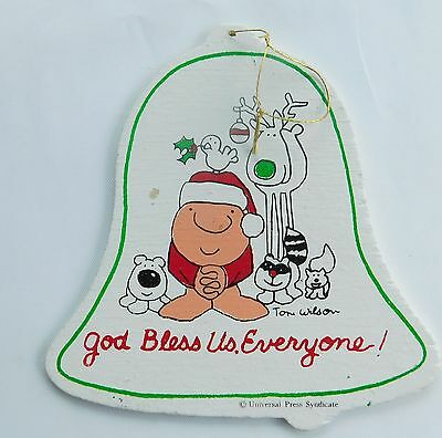 """ZIGGY  CHRISTMAS ORNAMENT """"GOD BLESS US, EVERYONE!""""  Painted Wood"""