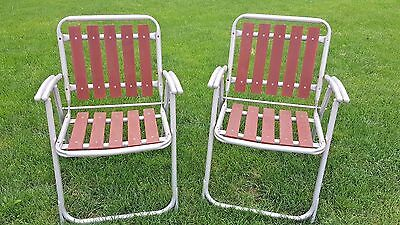 Pair VTG REDWOOD FOLDING CHAIRS Aluminum lawn mid century mod metal wood porch