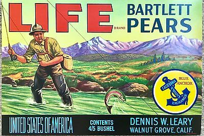Vintage, old, LIFE Bartlett Pears Crate Label Trout Fisherman Fruit Advertising