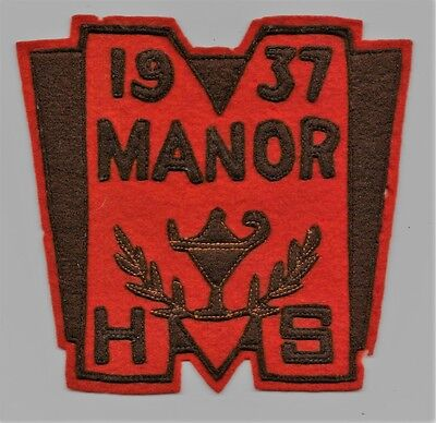 Vintage 1937 Manor High School (Millersville PA)??? Sew On Patch