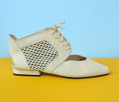 Vintage 80s 90s Pastel Green Leather Mesh Sandals Summer Shoes Ankle Boots UK 4