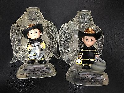 Firefighter protected Winged Guardian Angel Statue Figurine Hamilton Collection