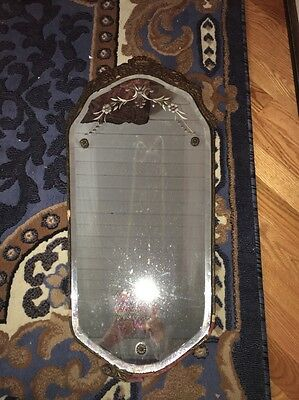 Antique Etched Mirror Wood Carved Frame NOT PERFECT