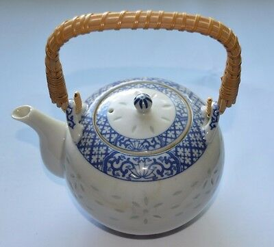 Rice Grain porcelain Japanese teapot with wicker handle