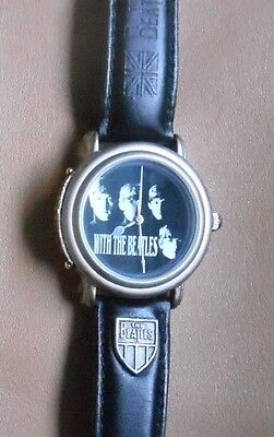 Vintage In Concert With the Beatles  Wrist Watch Leather Band Wooden Guitar Box