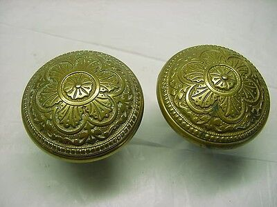 2 Antique Ornate Victorian Solid Brass / Bronze  Door Knobs 2+3/4'' --Flower