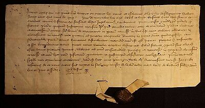 1408 - THE RIGHT OF TOLL - RARE MEDIEVAL VELLUM with WAX SEAL