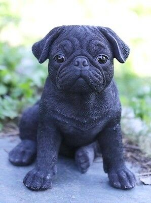 Sitting Black Pug Puppy  Realistic Life Like Statue Figurine Home Garden Decor