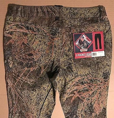 Mossy Oak Brush 5 Pocket Jean Camo Stretch Pants Country Hunting Womens 8-16 New