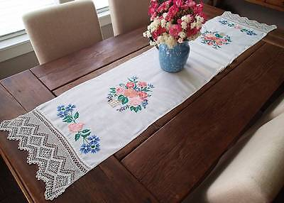 LONG Vintage Embroidered Flower & Lace Table Runner or Show Towel 72x15