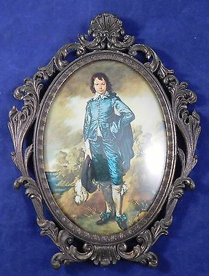 """Vintage Ornate Metal Brass Oval Picture Frame Italy 9-1/2"""""""