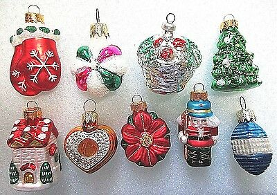 **9**figural  Mercury Glass Christmas Ornaments==Tree=Mittens=Heart=House # B