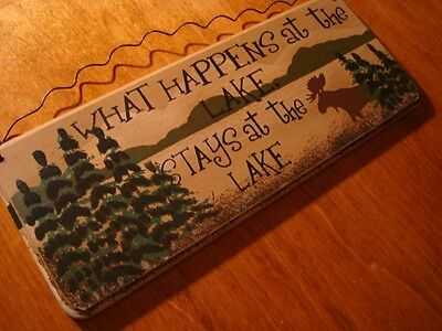 WHAT HAPPENS AT THE LAKE STAYS AT THE LAKE Rustic Moose Pine Forest Cabin Sign
