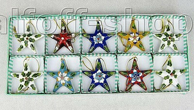 New 10PCS WHOLESALE CLOISONNE CHRISTMAS FIVE Stars ORNAMENT