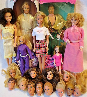 Vintage MOD 70s -90s DOLL LOT Mattel Celebrity Malibu Barbie Ken Dawn Dinah Mite