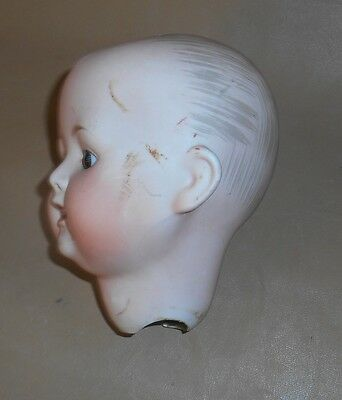 """Antique 20"""" 1920's Nippon Bisque Baby Doll HEAD only Glass Eyes Porcelain Teeth"""