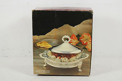 International Silver Company Serving Dish With Glass