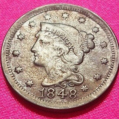 1848 Braided Hair US Large Cent - Higher Grade - Free Shipping!!!