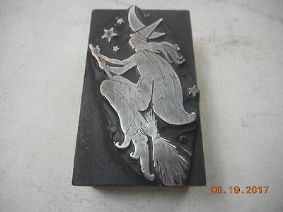 Printing Letterpress Printers Block, Witch On A Broom At Night, Antique