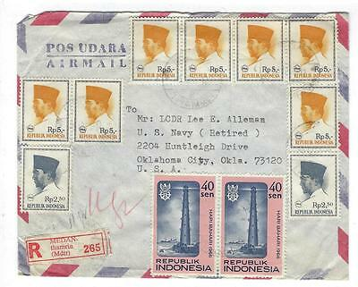 1966 Indonesia To USA Registered Cover With 11 Stamps (HH-34)