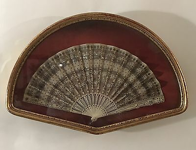 "Antique Lace Hand Fan Silver Beads In Gold Gilded Shadow Box ""as Is"""