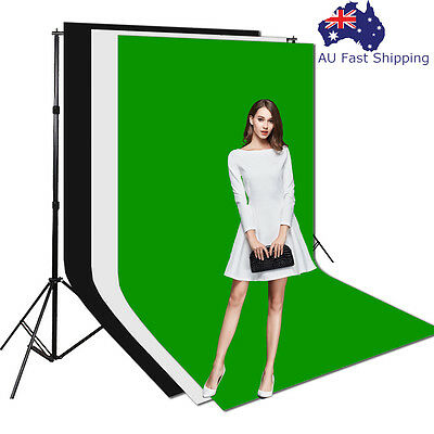 Photography Studio Lighting Muslin Backdrop Screen Background Support Stand Kit