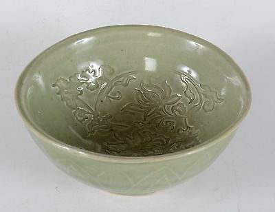 Old Chinese Carved Porcelain Celadon Glaze Bowl