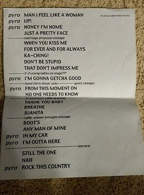 Shania Twain Setlist Chicago Grant Park-- Up! Live In Chicago RARE!