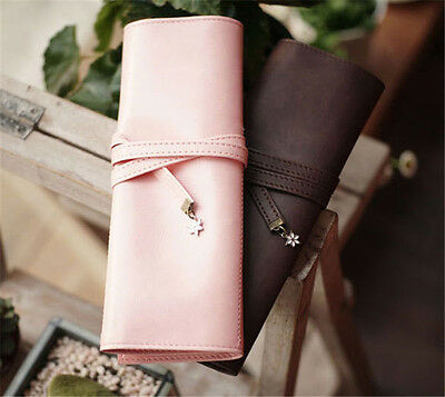 Vintage Makeup Cosmetic Brush Pencil Case Organizer Pouch Holder Bag Pink