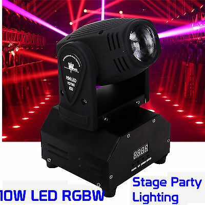 10W Mini Moving Head Beam Light RGBW Dmx LED Effect DJ Disco Club Stage Light